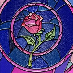 beauty and the beast stained glass | iPhone Cover - Beauty And The Beast Rose Flower Stained Glass With Art ...