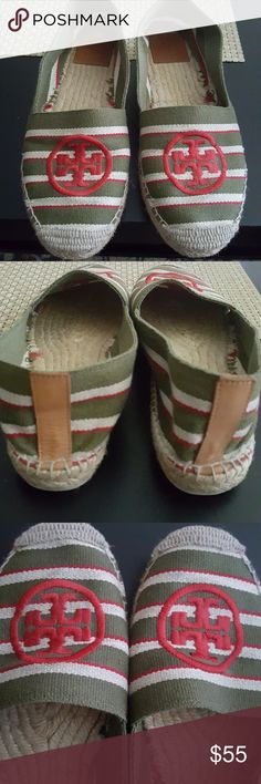Tory Burch Espadrilles Super cute espadrilles by Tory Burch. Green, cream, and red striped,  with red stitched Tory logo. Only worn a couple of times, and does not come with original box. Tory Burch Shoes Espadrilles