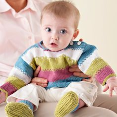 Striped Knitted Baby Set Knit a striped set perfect for your little one.