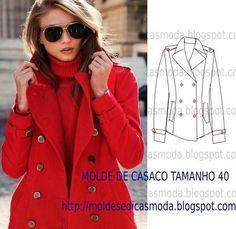 CASACO DE INVERNO SENHORA Molde de casaco de inverno feminino para imprimir grátis. No inverno é possível observar nas ruas mais elegância que no verão. O