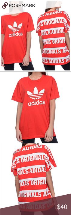 Adidas Trefoil Print Back Tee * Adidas street style t-shirt top in red with classic trefoil logo in white, and adidas original print in back. Unique, original bold look. Round ribbed neckline, boyfriend fit, a little but bat sleeves, super comfortable in 100% cotton. * Perfect for going out with friends, trendy, casual. * Size Available: Large (Laid flat armpit to armpit: 23 in, length: 29 in); check out other adidas listings, bundle for a private discount. * Feel free to ask any questions…