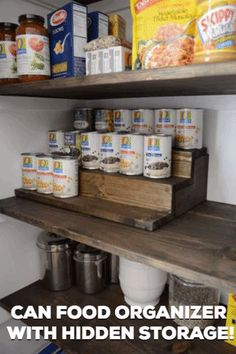 Can Food Organizer with Hidden Storage Underneath - Hide treats and snacks from your kids with this easy beginner woodworking project f. Kids Woodworking Projects, Wood Projects For Beginners, Learn Woodworking, Wood Working For Beginners, Popular Woodworking, Diy Wood Projects, Woodworking Plans, Woodworking Furniture, Custom Woodworking