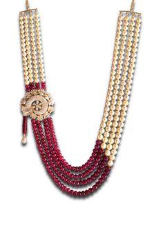 A diamond locket embollished with ruby & pearls Ruby Jewelry, India Jewelry, Beaded Jewelry, Fine Jewelry, Beaded Necklace, Pearl Chain, Bijoux Diy, Modern Jewelry, Diamond Pendant