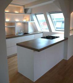{{Site title}} - Scandinavian Design Trends - Have Best Home Decor ! Modern Apartment Decor, Attic Apartment, Attic Rooms, Attic Spaces, Apartment Kitchen, Kitchen Interior, Open Plan Kitchen, Kitchen Dining, Decor Scandinavian