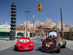 Cars Land in Disney's Califonira Adventure!  Welcome to Radiator Springs - Drive On In!  Cars Land is 12 acres of high octane fun for the whole family!