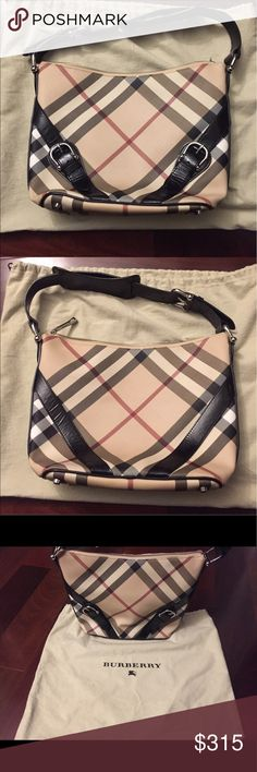 """Burberry Nova Check shoulder bag Burberry Nova Check coated canvas bag  Silver-toned hardware, black patent leather trim, buckle accents at exterior, tonal stitching, single shoulder strap, tan canvas lining, 3 interior pockets at interior walls (1 w/zipper), and zip closure, 4 bottom studs. Strap drop: 7"""" Ht: 9.5"""" Width: 9.75"""" on the bottom, 13"""" at the top Depth: about 5"""". (All measurements are approximate) Very Good condition.  Gentle wear and minor marks and spots Comes with dust bag…"""