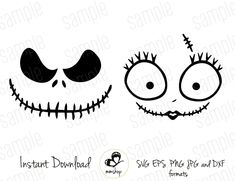 Jack and Sally - stencils for pots Casa Halloween, Halloween Pumpkins, Halloween Crafts, Holiday Crafts, Holiday Fun, Halloween Party, Christmas Crafts, Halloween Tattoo, Scary Halloween Decorations