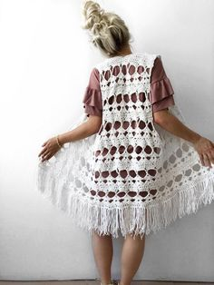 Gypsy Vest Crochet Pattern – Knits 'N Knots Winnipeg Crochet Vest Pattern, Kimono Pattern, Crochet Shirt, Crochet Cardigan, Crochet Lace, Crochet Patterns, Single Crochet Stitch, Basic Crochet Stitches, Gilet Kimono