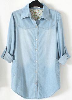 chemisier en jean blanchi -bleu clair
