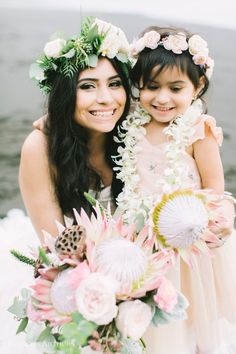 Wedding Photography Hawaii Waipio Valley Wedding / Waipio Valley Hawaii Wedding / Photo by Rebecca Arthurs / Film Photography / Pink Invitation / King Protea Bouquet / Flower Crown / Mother and daughter / Flower Girl