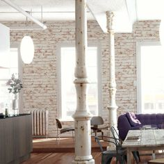 White Painted Reclaimed Brick Effect Wallpaper White, Red, Orange & Brown tones White Brick Wallpaper, Brick Effect Wallpaper, Wall Wallpaper, Painted Brick Walls, Piece A Vivre, Home And Deco, White Paints, Room Inspiration, Beautiful Homes