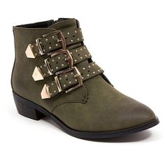 Ramarim Heidi Heeled Western Bootie ($60) ❤ liked on Polyvore featuring shoes, boots, ankle booties, khaki green, western boots, pointy toe booties, green ankle boots, studded ankle boots and pointed toe ankle boots