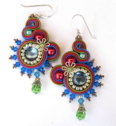 Soutache earrings in Blue, Red, Green and Silver  Miriam Rios, Cielo Design on Etsy   $65.00 USD