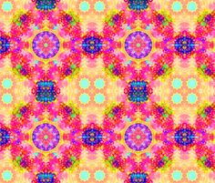 Kaleidoscope Fractal Pink and Yellow fabric by hippygiftshop on Spoonflower - custom fabric