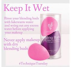 Tuesdays Technique Tip of The Day!! Get a perfectly smooth application of powder, cream foundation, primer, or blusher in seconds with these cute reusable sponge applicators. Just two sponges, a small pink bud for fine detail areas, and a large purple bud for large area application.  They are SO EASY to use too! Only 5 simple steps to keep you looking flawless all day long! Saturate in Water ~ Squeeze ~ Towel Dry ~ Dip in makeup ~ Dab to Blend…
