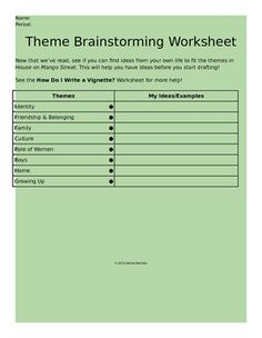 language arts teacher resources grades k activities school  house on mango street themes brainstorming worksheet