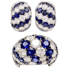 Van Cleef & Arpels Sapphire & Diamond Bombe Set   From a unique collection of vintage clip-on earrings at http://www.1stdibs.com/jewelry/earrings/clip-on-earrings/