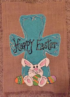 Burlap garden flag, Happy Easter, turquoise cross with cute bunny and Easter eggs Flag Ideas, Burlap Garden Flags, Blue Cross, Cute Bunny, Happy Easter, Easter Eggs, Smurfs, Pottery, Holiday
