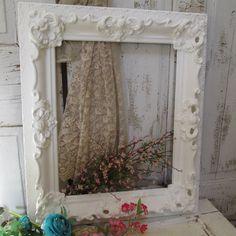 Large white ornate wood frame chalky shabby by AnitaSperoDesign, $165.00