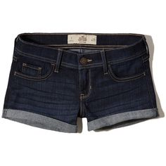 Hollister Low-Rise Denim Shorts ($15) ❤ liked on Polyvore featuring shorts, rinse, jean shorts, cuffed shorts, classic fit shorts, denim short shorts and low rise jean shorts
