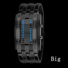 2017 Fashion Creative Luxury Lovers' Wristwatch Men Women Steel blue Binary Luminous LED Electronic Sport Watches Smart Watch