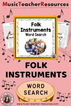 Introduce more about World Music to your students with this Folk Instruments Word Search. ♫ ♫ #musiceducation #mtr Child Teaching, Teaching Music, Music Worksheets, Worksheets For Kids, Music Activities, Music Games, Music Word Search, Music Classroom, Classroom Resources