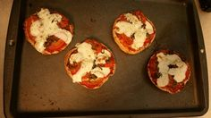 Margherita Mini-Muffs... Wanted caprese and pizza, so I improvised.  Started with toasted English Muffins  Added homemade meat sauce. Sliced Grape Tomatoes. Fresh sliced Mozzarella.  Fresh Basil Chiffonade.  Extra Virgin Olive Oil drizzle.  Salt @ pepper to taste.  Baked at 325 for 15 minutes, checking every 5 until cheese has melted. Mangia!
