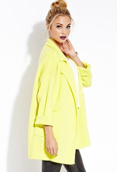 Retro-Inspired Knit Coat | FOREVER21 Coated in lime #Capsule #ForeverHoliday #Outerwear