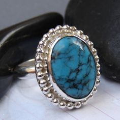 Turquoise Ring in Sterling Silver and Fine Silver by CoilandFlame.