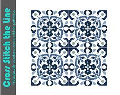 Traditional Delft style cross stitch tile pattern. Contemporary cross stitch design. Modern cross stitch chart.