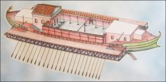 Reconstruction of one of Emperor Caligula's Nemi Barges.