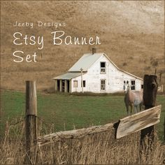 Etsy Banner Set - Rustic Farmhouse - Etsy Shop Set - Horse - Etsy Banners - Country