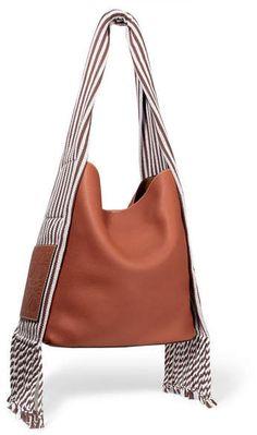 ea293b9b8caa Loewe - Scarf Striped Cotton-trimmed Textured-leather Shoulder Bag -  Tan spring18runway