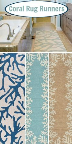 Coral Rug Runners... Shop the Look: http://www.completely-coastal.com/2017/01/coral-branch-rugs-indoor-outdoor.html Rug runners for the bathroom, kitchen, hallway! Featured on Completely Coastal
