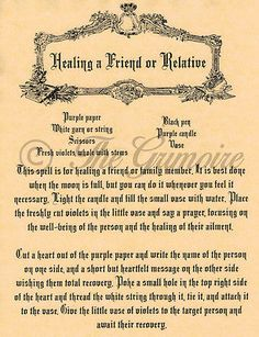 HEAL A FRIEND OR RELATIVE, Book of Shadows Spells Page, Wicca, Witchcraft