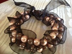 Sheer Black Organza Ribbon & Pink Glass Pearl by EmbraceLace, $32.00