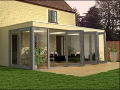 Contemporary conservatory with glazing Lean To Conservatory, Small Sunroom, House Extensions, Kitchen Extensions, Moderne Pools, Sunroom Addition, Home Designer, House Furniture Design, Glass Extension