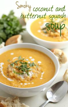 Smoky coconut and butternut soup. Smoky coconut and butternut squash soup - the perfect vegan lunch! Vegan Soups, Vegan Dishes, Vegan Vegetarian, Vegetarian Recipes, Healthy Recipes, Vegan Meals, Quick Recipes, Vegan Food, Soup Recipes