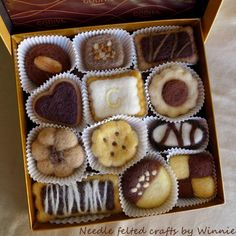 Needle felted cookies in Godiva box by FunFeltByWinnie on Etsy, $100.00