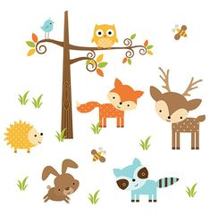 WOODLAND ANIMALS NURSERY Decor Forest Friends Wall Art Decal Mural Stickers Baby Girl Boy Neutral Shower Decorations Kids Childrens Room