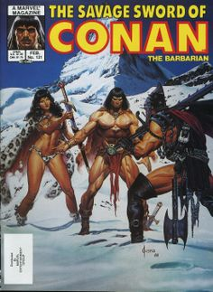 A cover gallery for the comic book Savage Sword of Conan High Fantasy, Dark Fantasy Art, Fantasy Artwork, Red Sonja, Boris Vallejo, Conan Comics, Marvel Comics, Comic Books Art, Comic Art