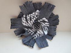 Shabby Chic Flower Brooch Grey Denim Flower by KBrownJewellery, £15.00  www.kbrownjewellery.etsy.com #etsy