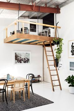 How cool is this music filled loft? If you had your own loft space what would you turn it into. Loft Design, Tiny House Design, Design Design, Loft Spaces, Small Spaces, Loft Apartments, Open Spaces, Loft Interiors, Luxury Kitchens