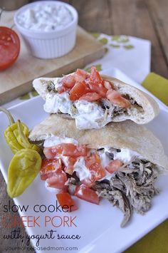 Slow Cooker Greek Pork  with Yogurt Sauce - easy and delicious!