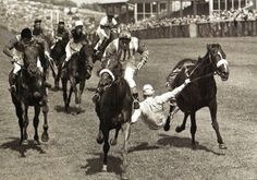 Lester Piggot tries desperately to hang on to his horse, 'Barbary Pirate', as he is unseated on the final straight at Brighton Racecourse - UK - 18 August 1960