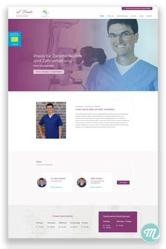Webdesign with sleek modern homepage in purple and blue for dentist.
