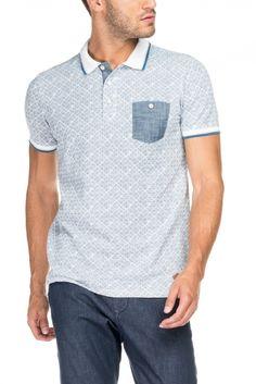 b433413d12286 Salsa Store - Polo con micro estampado Polo Hombre, Camisa Polo, Camisas  Hombre,
