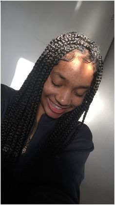 Close Up Of Knotless Box Braids These Are Medium Size