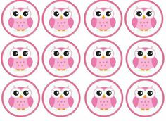 Printable Banner Letters, Owl Cupcakes, Wafer Paper Cake, Baby Shower Invitaciones, Bottle Cap Images, Pink Owl, Owl Print, Student Gifts, Cupcake Toppers