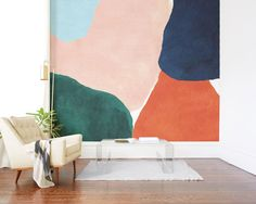 Minted's Wall Murals Are Changing the Wall Mural Game - We're on fully board with Minted's wall murals Office Mural, Office Walls, Office Chairs, Mural Wall Art, Mural Painting, Wall Murals For Kids, Painted Wall Murals, Gouache Painting, Painting Canvas